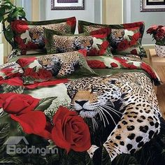 Luxury Leopard and Roses Print 4-Piece 100% Cotton Duvet Cover Sets - beddinginn.com
