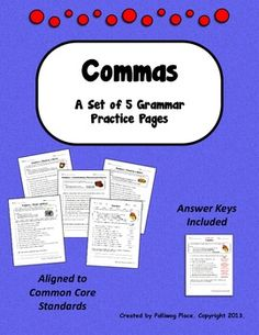 Commas - Set of Grammar Practice Pages for Using Commas Grammar Practice, Teaching Grammar, Teaching Time, Teaching Language Arts, Teaching Reading, Teaching English, Basic Grammar, Grammar And Punctuation, School Tool