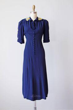 1930s Dress Vintage 30s Dress Deep Sapphire Rayon Crepe