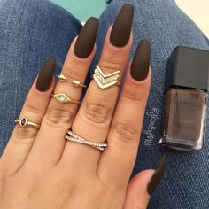 Deep Chocolate Brown  @zaporaofficial on the color (True Queen) & @sally_hansen Big Matte Top Coat ~ Rings @target   Nails by  glambymeli