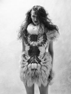 Fashion as Art - fur dress with intricately structured design; sculptural fashion // Yiqing Yin