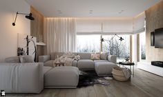 New Nordic - Salon - zdjęcie od hoom New Nordic, Curtains, Living Room, Furniture, Home Decor, Interiors, New Houses, Colors, Balcony