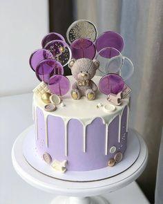 Cute Birthday Cake Baby Kids girls princess boys purple little bear Cute Birthday Cakes, Beautiful Birthday Cakes, Beautiful Cakes, Amazing Cakes, Purple Birthday Cakes, Lollipop Cake, Cupcake Cakes, Purple Cakes, Gateaux Cake