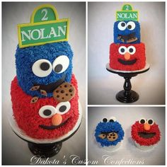 - Sesame Street cake and cupcakes. Buttercream frosting with fondant faces, cookies and sign on top. I found the original design for this cake on Cakesdecor by The Cakery and she was kind enough to let me make a modified version of it. Sesame Street Birthday Cakes, Sesame Street Cake, Sesame Street Cupcakes, Sesame Street Signs, 2 Birthday, 2nd Birthday Parties, Birthday Ideas, Fabulous Birthday, Birthday Recipes