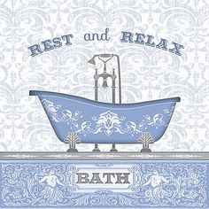 Bath Time-Blue-JP3845 by Jean Plout