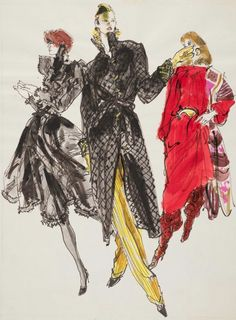 Fashion illustration by Kenneth Paul Block (1925–2009), 1981, design by Hubert de Givenchy,  Yves Saint Laurent,  Bill Blass,  Fairchild Publications, W Magazine.