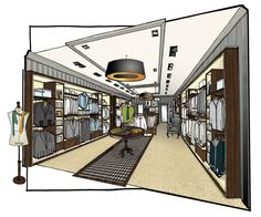 Mensware store - The Yard Creative Interior Design Sketches, Interior Rendering, Interior Concept, Interior Architecture, Store Layout, Shop Interiors, Commercial Design, Retail Design, Store Design