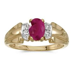 14k Yellow Gold Oval Ruby And Diamond Ring Size 6 >>> Want to know more, click on the image.Note:It is affiliate link to Amazon.