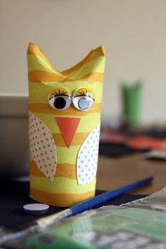very cute cardboard tube owl