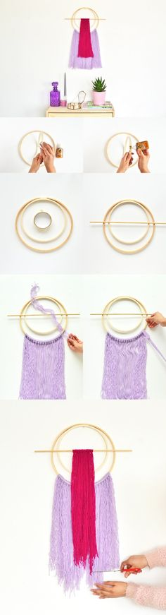 With just a few materials at home, you can easily make this and many more embroidery hoop modern yarn wall hanging under 2 hours