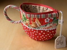 """Cherry TeaCup pouch  to carry your tea bags (pattern in Lark book """"Pretty Little Purses"""")"""