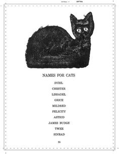 Names for cats Ounce Dice Trice by Alastair Reid, illustrated by Ben Shahn Crazy Cat Lady, Crazy Cats, I Love Cats, Cool Cats, Hate Cats, Ben Shahn, Cat Names, Kitten Names, Cat Boarding