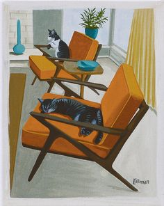 Mid Century Modern Eames Retro Limited Edition Print from Original Painting Cats Danish Chairs