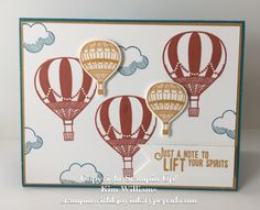 Stampin Up Lift Me Up stamp set from the Stampin Up Occasions Catalog 2017. Kim Williams, stampin with kjoyink, pink pineapple paper crafts. Quick and easy masculine card. Hot air balloons can be masculine. Masculine card ideas.