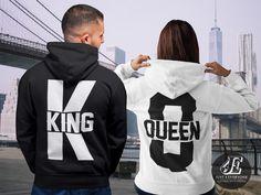 King Queen King Queen Hoodies Set of King & Queen Pärchen Cute Couple Shirts, Matching Couple Outfits, Matching Couples, Matching Set, King And Queen Sweatshirts, King Queen Shirts, Valentine Shirts, Couples Assortis, Kings & Queens
