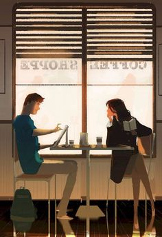 Pascal Campion, Coffee Sketching -Why do you always. Pascal Campion, Couple Illustration, Digital Illustration, I Found You, Illustrations, American Artists, Bunt, Cute Couples, Amazing Art