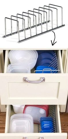 50 Genius Storage Ideas ~ Use a CD rack to store tupperware lids! I knew there was a reason I kept that cd rack! Organisation Hacks, Kitchen Organization, Storage Organization, Lid Storage, Storage Ideas, Organizing Tips, Storage Racks, Organising, Organized Kitchen