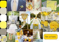Yellow & Grey wedding inspiration board.