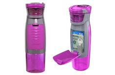 Handy water bottle for workouts that holds your personal belongings such as your house key, money, credit card.