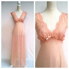 50s Light Pink Lace Night Gown / Large / Full Length / Sleeveless / Peignoir / V Neck / Scalloped Trim. $17.00, via Etsy.