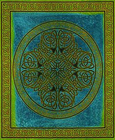 ★ TAPESTRY Hanging CELTIC KNOT Wall Decor SPREAD Green TIE DYE FABRIC Tablecloth