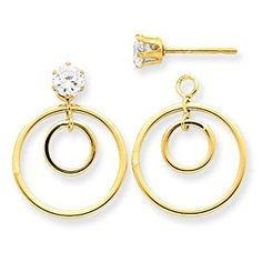 14k Yellow Gold Double Circle Jacket w/CZ Stud. Gold Wt- 0.75g.  http://electmejewellery.com/jewelry/earrings/earring-jackets/14k-yellow-gold-double-circle-jacket-wcz-stud-gold-wt-075g-com/