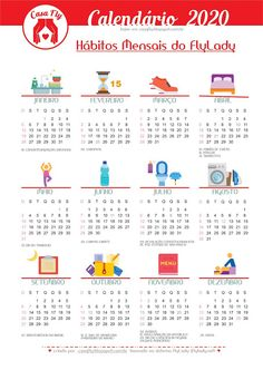 Calendário 2020 baseado nos Hábitos Mensais do FlyLady Planner, Bullet Journal, Download, Rapunzel, Words, Flylady, Housekeeping Schedule, Cleaning Routines, Happy New Year
