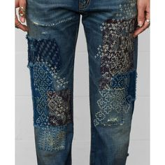 Patched and embroidered denim jeans by Ralph Lauren UK