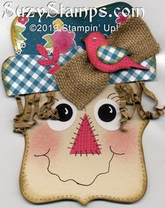 Stampin' Up! Cards - 2013-10 Fall Cards Class, Scarecrow Card, Top Note Die, Bird Builder Punch, Woodgrain stamp and Gingham Garden Designer Series Paper