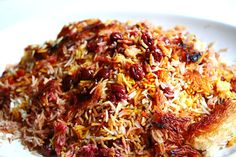 POLOW!! (Persian Sour Cherry Saffron Rice). This is my most favorite thing on earth.