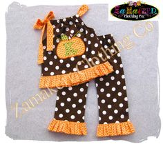 Girl Fall Thanksgiving Pumpkin Outfit - Thanksgiving Turkey Fall Pant Set 3 6 9 12 18 24 month size 2T 2 3T 3 4T 4 5T 5 6 7 8