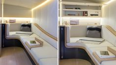 Turkish shipyard Alen Yacht exhibited the Alen 68 at last week's Cannes Boat Show. Designed in collaboration with renowned London architecture firm Foster + Partners, the boat combines the social spaces of a cruising yacht with the speed . Luxury Yachts, Luxury Boats, Yacht Interior, Interior Rendering, Catamaran, Contemporary Interior, Caravan, Bunk Beds, Corner Desk