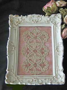 Framed Antique / Vintage Lace Trim by KISoriginals Shabby Chic Crafts, Vintage Crafts, Shabby Chic Decor, Vintage Decor, Framed Doilies, Lace Doilies, Doily Art, Craft Projects, Projects To Try