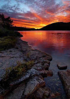 Sunset at OSA Lake, Killarney Provincial Park, Ontario, Canada