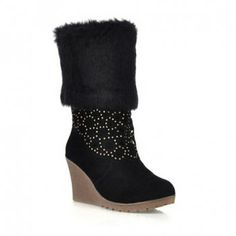 Cheap Wholesale New Arrival Faux Fur and Openwork Design Boots For Women (BLACK,39) At Price 20.96 - DressLily.com