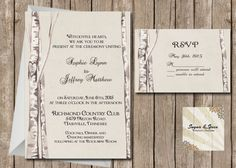 Rustic Birch Tree Wedding Invitation and RSVP, Western Birch Tree, Country Wedding, Digital File Printable