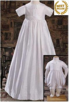 Boys 100% Silk Convertible Christening Gown & After Baptism Romper