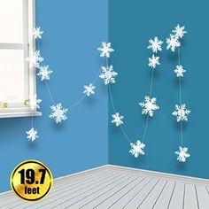 BTNOW 2 Pack 19.7 Feet/236.2 Inches White 3D Christmas Paper Snowflake Hanging Garland Decorations >>> You can get additional details at the image link. (This is an affiliate link) #SeasonalDcor