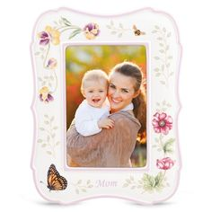 """This wonderful Butterfly Meadow """"Mom"""" frame is a perfect gift for Mother's Day! Decorated with bright flowers, a butterfly and a bumblebee, it's great for a Springtime celebration. From Lenox."""