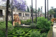 Gardens of the Real Alcázar Palace in Seville