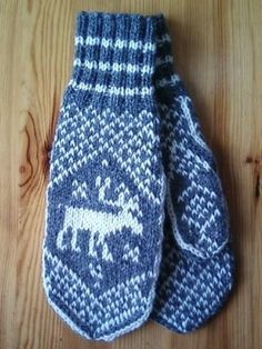 Homemade knitted mittens with elks on them. Sweden.