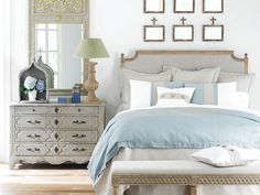 Serene scene - note the Louis XIV trumeau mirror and the Swedish-style bench Trumeau Mirror, Entryway Mirror, Queen Headboard, Up House, Beautiful Bedrooms, Bedroom Decor, Bedroom Ideas, Glam Bedroom, Pretty Bedroom