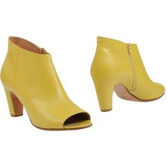 Maison Margiela Ankle Boots ($227) ❤ liked on Polyvore featuring shoes, boots, ankle booties, yellow, open toe booties, ankle boots, zipper ankle boots, leather open toe booties and leather booties