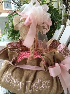 Softness In Burlap...for Easter Morning! Cindyjaegerdesigns@hotmail.com