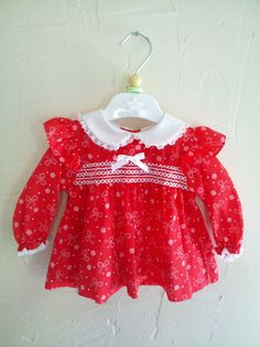 Vintage Baby Girl Red and White Smocked Dress by rockpapermagic, $22.00