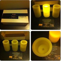How the flameless candles look from AA candles.