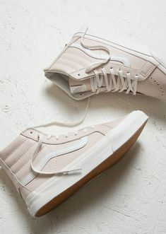 White in full effect this spring with a subtle touch of pink | Vans Sk8 Hi Slim
