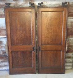 2 Antique Tiger Oak Salvage Pocket Sliding Barn Doors With Stoppers And  Hardware