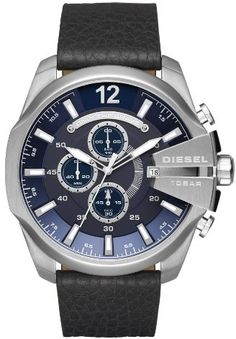 Men's Diesel Mega Chief Chronograph Leather Strap Watch, 51Mm