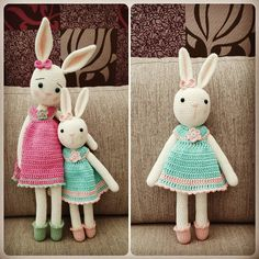 Lovely bunnies with colorfull dresses :) Amigurumi, bunny, crocheted. For pattern: http://tinyminipatterns.blogspot.dk/